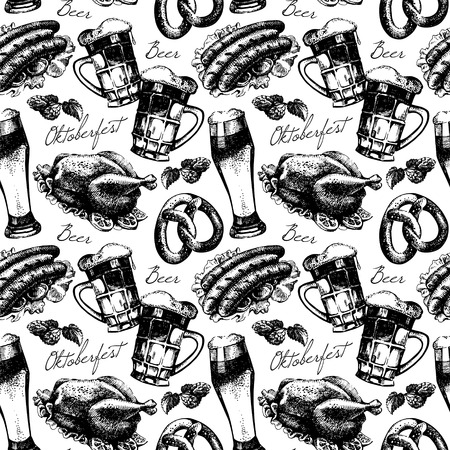 folk art: Oktoberfest vintage seamless pattern. Hand drawn sketch vector illustration