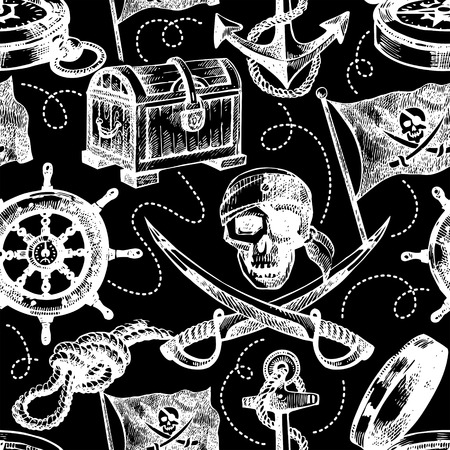 navigating: Hand drawn pirate seamless pattern. Sketch vector illustration