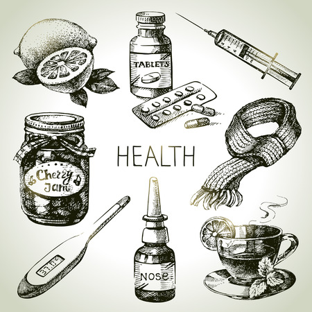 hand jam: Sketch healthy and medical set. Hand drawn vector illustration Illustration