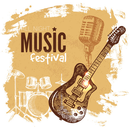 Music vintage background. Splash blob retro design. Music festival poster. Hand drawn sketch vector illustration