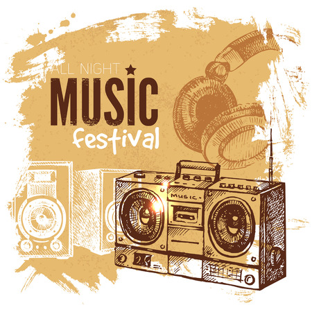 Music vintage background. Splash blob retro design. Music festival poster. Hand drawn sketch vector illustration