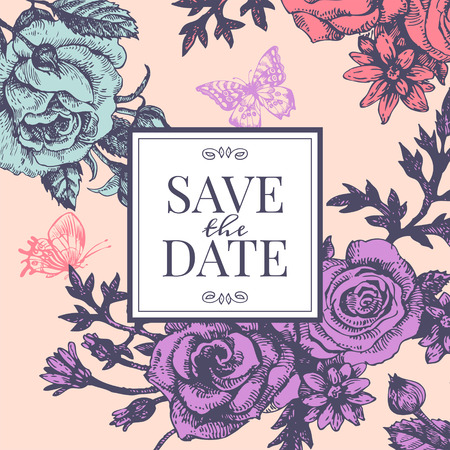Vintage wedding invitation with rose flowers. Save the date design. Hand drawn sketch vector illustration  Vector