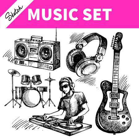 Sketch music set. Hand drawn vector illustrations of Dj icons 向量圖像