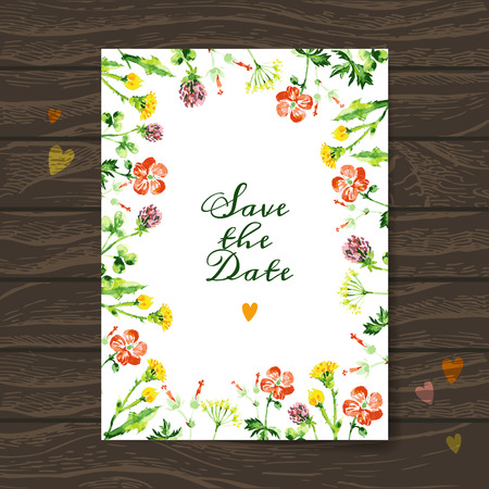 Save the date love card with watercolor floral bouquet. Wedding and Valentine's Day vector illustration