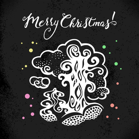 Christmas background with hand drawn sketch illustration. Happy New Year card. Vector design Vector
