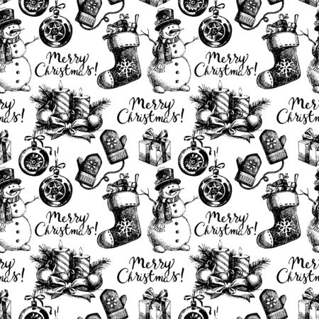Christmas seamless pattern. Happy New Year hand drawn illustration. Vector design Vector