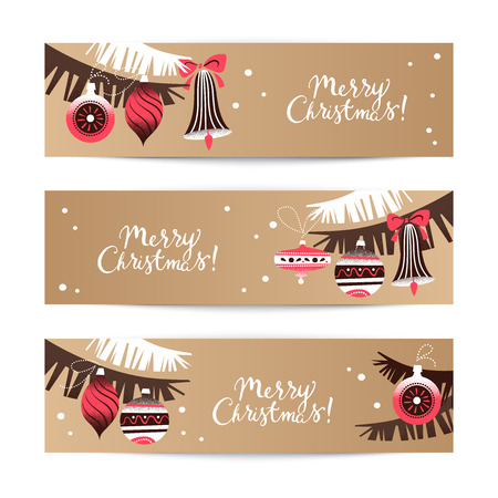 Vintage Christmas banners. Happy New Year cards. Vector illustration Vector