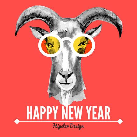 goat head: Merry Christmas and Happy New Year card with watercolor portrait of hipster goat. Hand drawn vector illustration