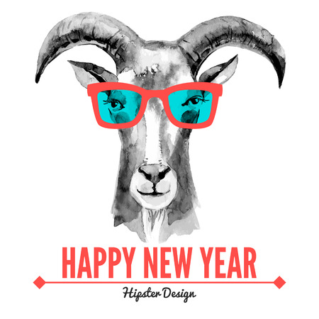 watercolours: Merry Christmas and Happy New Year card with watercolor portrait of hipster goat. Hand drawn vector illustration