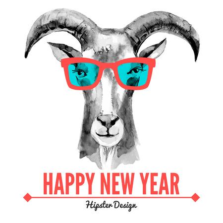 geit: Vrolijk Kerstfeest en Gelukkig Nieuwjaar kaart met aquarel portret van hipster geit. Hand getrokken vector illustratie
