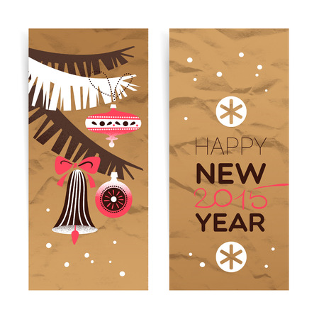Vintage Christmas banner set. Happy New Year cards. Vector illustration Vector
