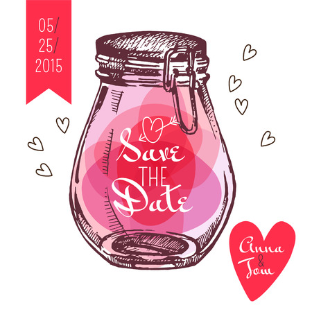 日付カードを保存します。結婚式の招待状。素朴な石工の jar ファイル。ヴィンテージ手描きスケッチ デザイン。ベクトル イラスト  イラスト・ベクター素材