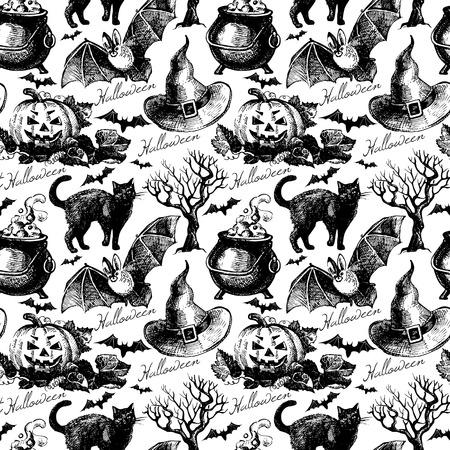 Sketch Halloween seamless pattern. Hand drawn vector illustration Vector