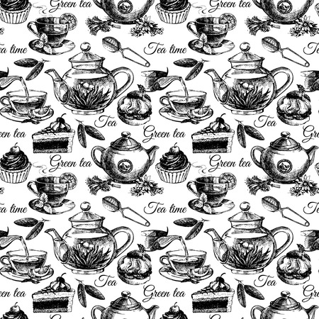 Tea and cake seamless pattern. Hand drawn sketch vector illustration. Menu design Çizim