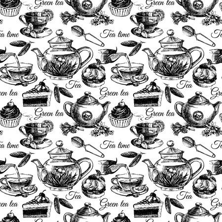 Thee en cake naadloze patroon. Hand getrokken schets vector illustratie. Menu ontwerp Stock Illustratie