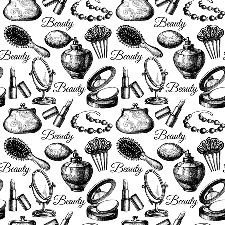 sketch sketches: Beauty seamless pattern. Cosmetic accessories. Vintage hand drawn sketch vector illustrations