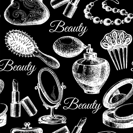cosmetics collection: Beauty seamless pattern. Cosmetic accessories. Vintage hand drawn sketch vector illustrations