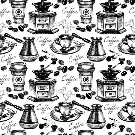 Vintage coffee seamless pattern. Hand drawn vector illustration