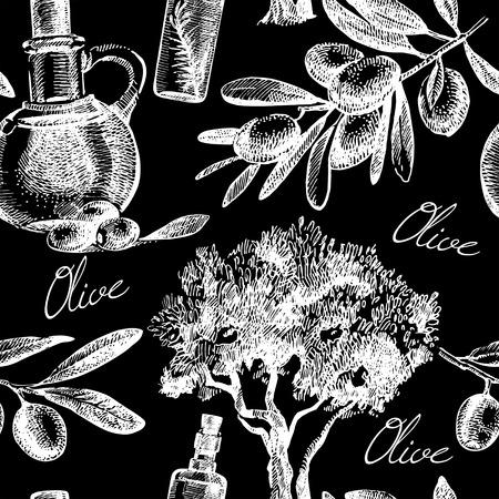 Vintage olive seamless pattern. Hand drawn sketch vector illustration Vector