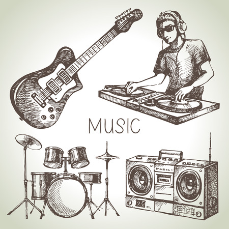 dj: Sketch music set. Hand drawn vector illustrations of Dj icons Illustration