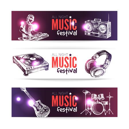 Banners of music design. Set of hand drawn sketch Dj backgrounds. Vector illustration Vector