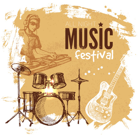 Music vintage background. Splash blob retro design. Music festival poster. Hand drawn sketch vector illustration  Vector