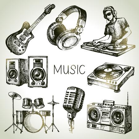 audifonos dj: Equipo de música Sketch. Dibujado a mano ilustración vectorial de iconos dj