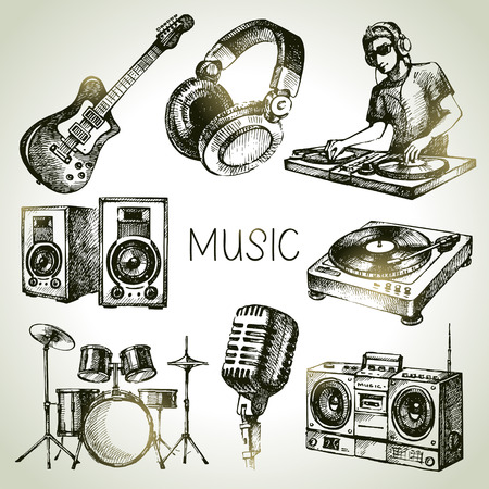 dj turntable: Sketch music set. Hand drawn vector illustrations of Dj icons Illustration