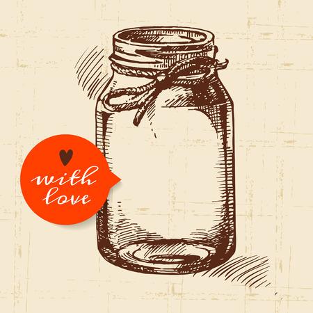 素朴なメイソン缶詰の jar ファイル。ヴィンテージ手描きスケッチ デザイン。ベクトル イラスト  イラスト・ベクター素材