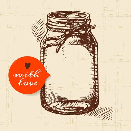 Rustic mason canning jar. Vintage hand drawn sketch design. Vector illustration Çizim