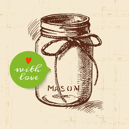 Rustic mason canning jar. Vintage hand drawn sketch design. Vector illustration Vettoriali