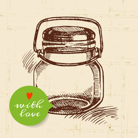 canning: Rustic mason canning jar. Vintage hand drawn sketch design. Vector illustration Illustration