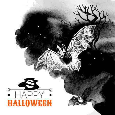 snag: Halloween background. Typographic poster. Hand drawn sketch and watercolor vector illustration Illustration
