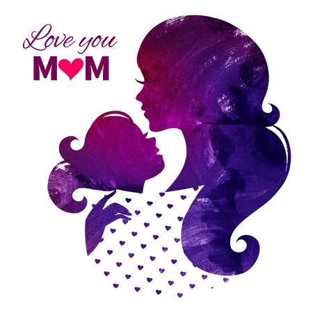 幸せな母の日のカード。彼女の娘と一緒に美しい母親のシルエット。水彩ベクトル イラスト