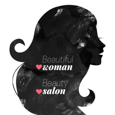 Acquerello di moda bella donna silhouette. Illustrazione vettoriale