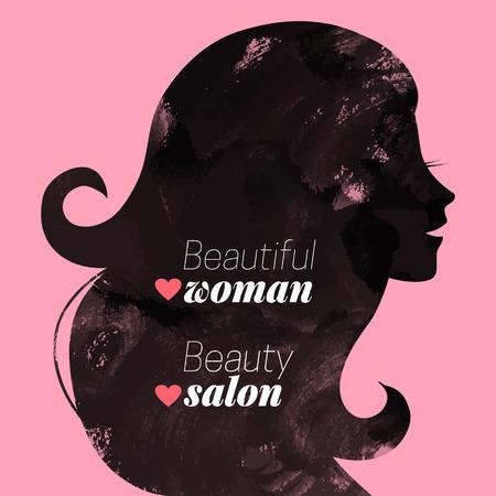 Watercolor fashion beautiful woman silhouette. Vector illustration Vector