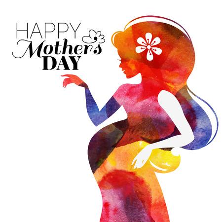 Waterсolor 美しい妊娠中の女性。ベクトル イラスト