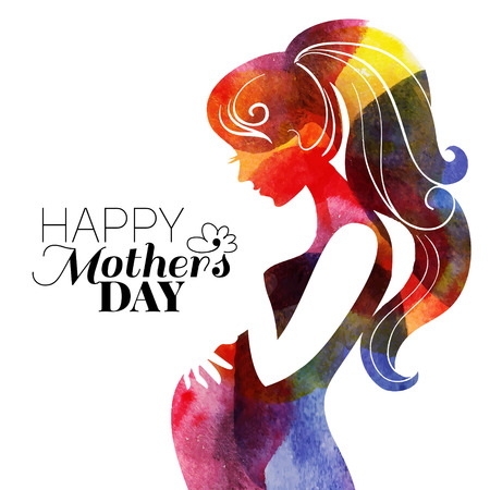 mother's: Waterсolor beautiful pregnant woman. Vector illustration  Illustration