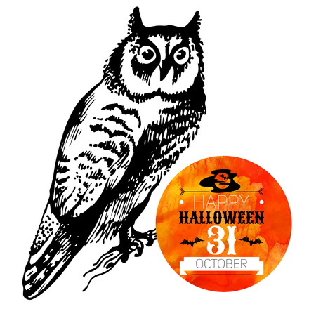 bird logo: Halloween background. Typographic poster. Hand drawn sketch and watercolor vector illustration Illustration