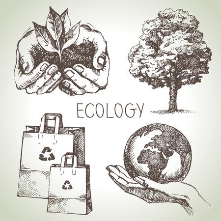 ciclo del agua: Conjunto ecología Sketch. Dibujado a mano ilustración vectorial