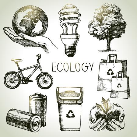 エコロジー セットをスケッチします。手描きの背景イラスト