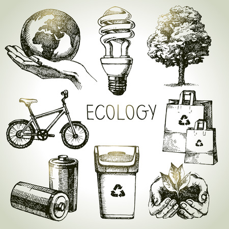 Sketch ecology set. Hand drawn vector illustration  Çizim