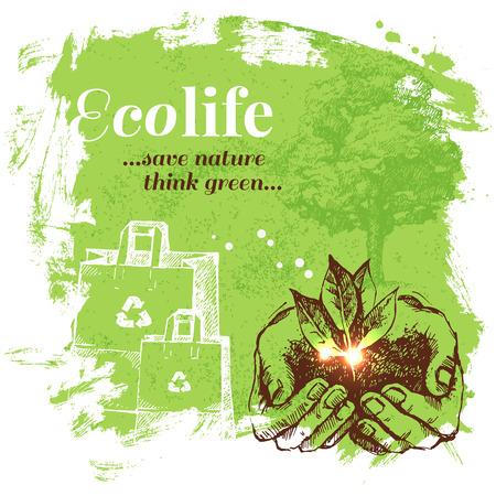 reciclar: Ecolog�a fondo Sketch. Dibujado a mano ilustraci�n vectorial Vectores