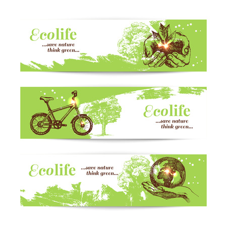 pencil: Set of sketch ecology banners. Hand drawn vector illustration