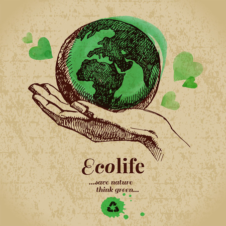 earth hands: Sketch watercolor ecology poster. Hand drawn vector illustration  Illustration
