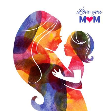 bambini: Acquerello silhouette madre con il suo bambino. Carta di Happy Mothers Day. Illustrazione vettoriale con bella donna e bambino