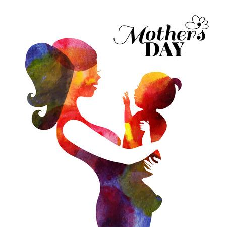 Watercolor mother silhouette with her baby. Card of Happy Mothers Day. Vector illustration with beautiful woman and child Stok Fotoğraf - 32160992