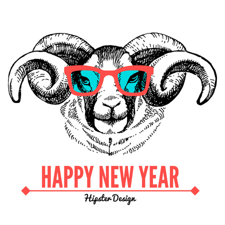 Merry Christmas and Happy New Year card with sketch portrait of hipster sheep. Hand drawn vector illustration Vector