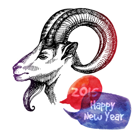 happy new year and merry christmas card hand drawn sketch portrait of goat vector