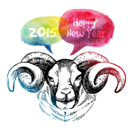 Happy New Year and Merry Christmas card. Hand drawn sketch portrait of sheep. Vector illustration Vector